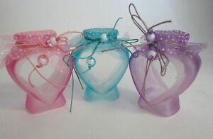 Glass Heart Shaped Jar Set! Pink, Purple, & Blue! Set of 3 Bottles