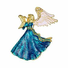 Fashion Crystal Charm Rhinestone Angel Wing Enamel Brooch Pins Jewelry Xmas Gift