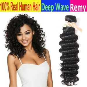 9A Deep Wave Unprocessed Remy Brazilian Human Hair Natural color 1 bundle 100g