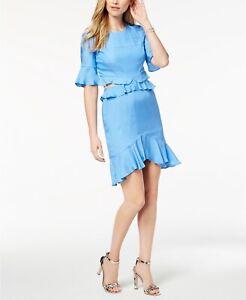 New $319 Bardot Women'S Blue Crew Neck Short Ruffled Hem Cutout Dress Size 8
