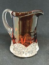 Vintage Flashed on Color Glass Cream Pitcher - Engraved w/ Mother 1909