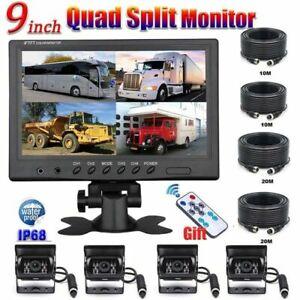 "9"" Quad Split Monitor 4PIN Backup Rear View Reverse Parking Camera Truck Caravan"