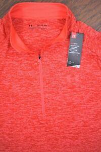 NWT Under Armour Tech 1/2 Zip LS Pullover Red Orange Heather Men's 2XL XXL