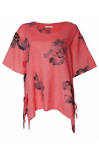 Plus size assymetrical floral print linen top    free size (coral)   REDUCED