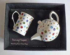 Spots 2 cup teapot,with matching bone china mug -  gift boxed. Dots polka dots