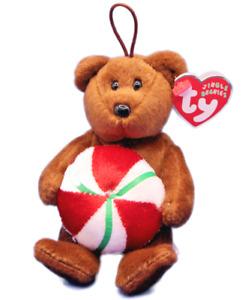 Ty Beanie Babies Jingle Beanies Yummy Peppermint Bear Ornament Christmas Plush