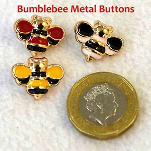 Bumblebee  Bee Shaped Metal Buttons, Solid Shanks, Black, Red, Yellow Colours