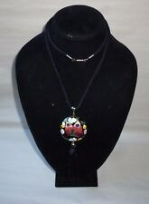 Cloisonne Metal Enamel Butterfly Flower Pendant Cord Fashion Necklace - FN0212