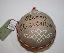 "Paper Mache Christmas Ball Ornament Merry Christmas Brown 12,5"" NWT"