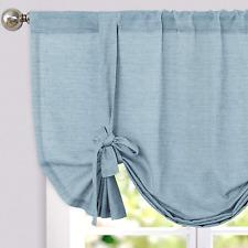 jinchan Tie Up Valance for Kitchen Living Room Linen Textured Adjustable Tie-up