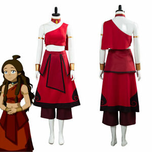 Avatar: the last Airbender Katara Cosplay Costume Red Dress Halloween Outfit