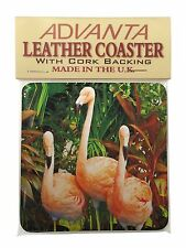 Pink Flamingo Print Single Leather Photo Coaster Animal Breed Gift, AB-74SC