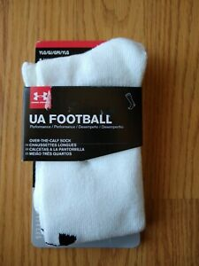 1 Under Armour FOOTBALL Socks 1-4 YLG Youth Large Over the Calf White Boys NEW