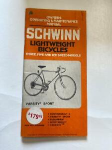 1979 Schwinn LIGHTWEIGHT Bicycle OWNERS MANUAL Varsity Sport and others