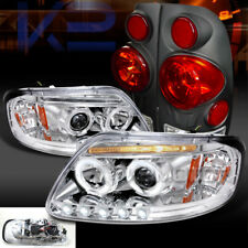 97-03 F150 Styleside Chrome Halo LED Projector Headlights+Black 3D Tail Lamps