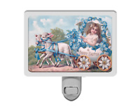 Happy Easter Vintage Style Girl with Lambs Forget Me Nots Holiday Night Light