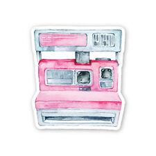 Retro Polaroid Pink Watercolour Camera Sticker Decal