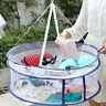 LN_ EG_ Foldable Double Layers Clothes Laundry Drying Rack Basket Mesh Tent Ne
