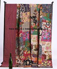 Indian Floral Patchwork Quilt Kantha Bedspread Throw Cotton Blanket Gudari Queen