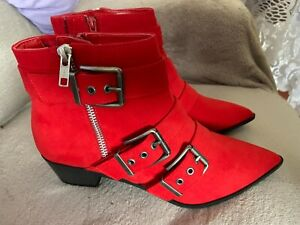 M&S COLLECTION UK 6 1/2 BNWT FABULOUS RED POINTED TOE BOOTS WITH BUCKLES