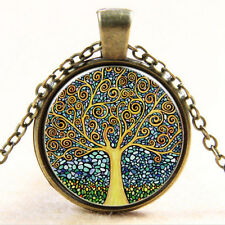 Vintage Tree of Life Cabochon Bronze Glass Chain Chic Pendant Necklace NT