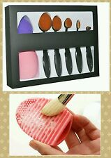 5pcs Oval Makeup Brush - Black w/ blender and cleaner (free shipping!!!)