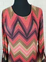 Roz & Ali Womens XL Multicolor Blouse Tunic Roll Tab Sleeves Stretch Blouse Top