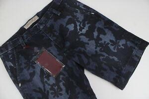 RRP€105 MICHAEL COAL Men W30 Patterned Denim Bermuda Shorts Made In Italy 5782