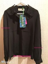 Kenzo x H&M Pure Mulberry Silk Black Beaded Tiger Collar Blouse Shirt Size 8 34
