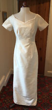 VINTAGE 1980's/1990's IVORY SILK EMBROIDERED WEDDING DRESS BY HILARY MORGAN