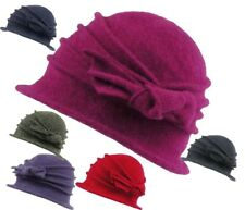 Ladies Wool Cloche Hat with Bow 100% Wool Super Soft Feel Winter Wedding Hat