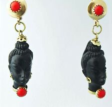 Vintage Corletto Italy Earrings 18K Gold Red Coral Ebony  Nubian Blackamoor