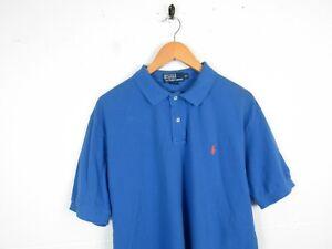 Mens Polo Ralph Lauren Blue Short Sleeve Designer Polo Shirt | XL Classic Fit