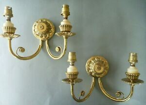 Pair (2) Wall Sconce -  2 Arm - Brass effect