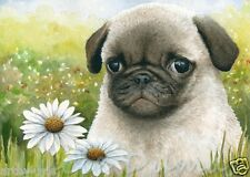 ACEO art print Dog 114 Puppy Pug daisy from original painting by L.Dumas