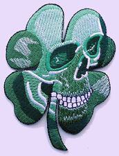 PIRATE SKULL CLOVER CELTIC IRISH  TACTICAL US ARMY   4.0 INCH hook PATCH (GRN)