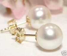 LUJO 7,5mm Akoya perlas pendientes 585 / 14k Oro Amarillo (sh2a)