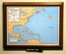 Framed Laminated Hurricane Tracking Chart with Dry Erase Pen