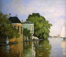 Perfect Oil painting Claude Monet - Zaandam summer landscape with green trees