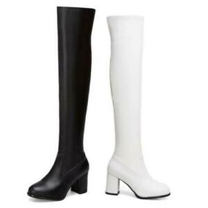 Outdoor Women Knight Over The Knee Thigh High Boots Round Toe Block Heel Shoes