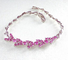 "Hot Pink CZ Cubic Crystal Women Lady 17cm 6.7"" Charm Bracelet White Gold Plated"