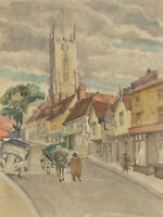 Mid 20th Century Watercolour - Street Scene with Figures and Horse Cart