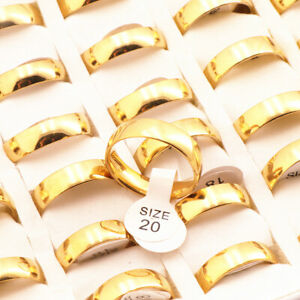 36pcs classic gold stainless steel Rings inside polished