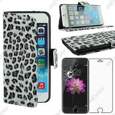 "Housse Coque Etui Portefeuille  PU Cuir Leopard Noir Apple iPhone 6S 4,7"" Verre"