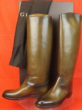 NIB GUCCI WINTER LEAF 1921 COLLECTION  LEATHER HYSTERIA CREST RIDING BOOTS 39.5