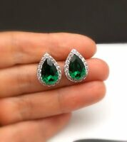 2.28Ct Pear Cut Green Emerald Halo Stud Earrings Solid 14K White Gold Finish