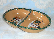 Divided Serving Bowl Country Snowman Stoneware Pottery Green Sponge Bake Dish