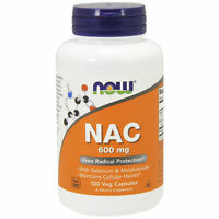 NOW Foods NAC N-Acetyl Cysteine 600mg 100Vcaps |  Detox Hangover Glutathione