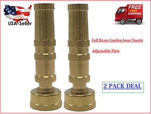 "Solid Brass Garden Spray Nozzle 4"" Adjustable Twist Water Hose USA Stock 2 PACK"