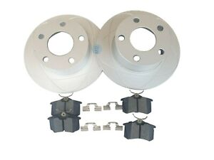 2 REAR Slotted Brake Rotor + Ceramic Brake Pads Fits Audi A6, Volkswagen Passat
